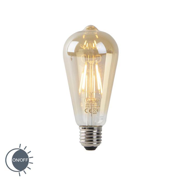 Filamento-LED-ST64-4W-2200K-dorado-con-sensor-claro-oscuro