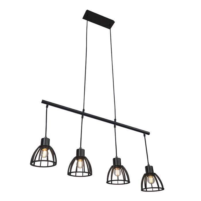 Lámpara-colgante-industrial-negra-4-luces---FOTU