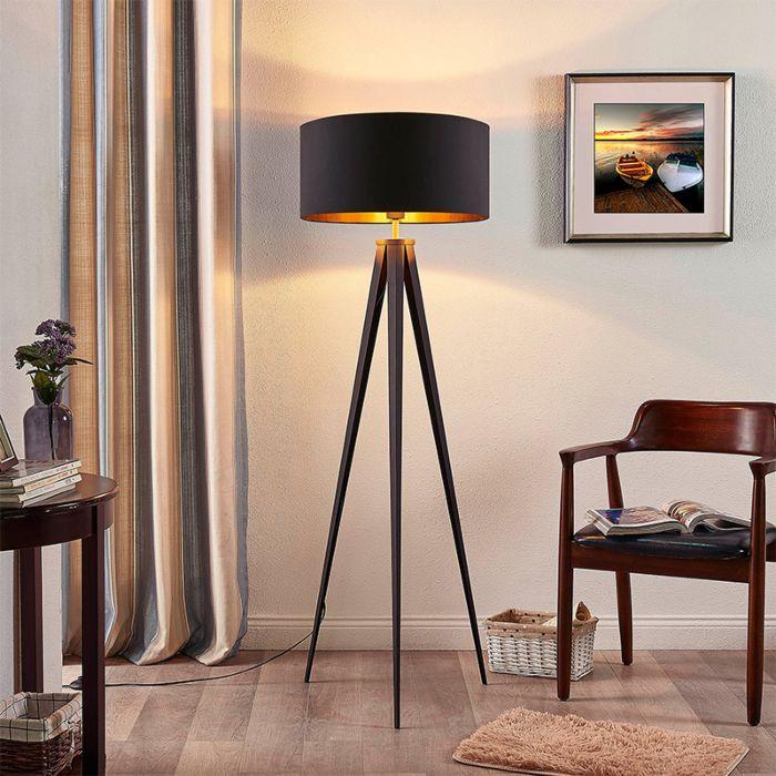 Lámpara-de-pie-trípode-con-pantalla-negra-con-interior-dorado---Benik
