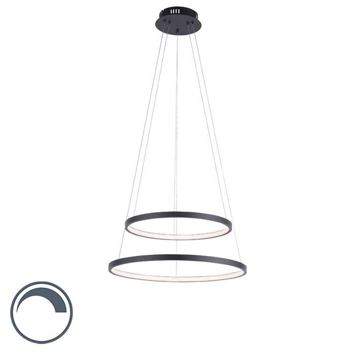 Lámpara-colgante-moderna-antracita-LED-regulable---ANELLA-Duo