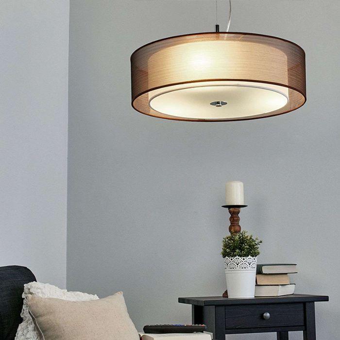 Lámpara-colgante-country-marrón-50-cm-con-LED---Pikka