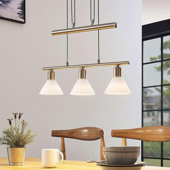 Klassieke-hanglamp-staal-3-lichts-verstelbaar---Delira