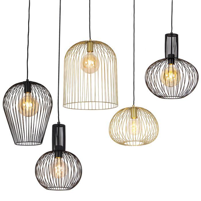 Conjunto-de-5-lámparas-colgantes-de-diseño-negro-y-dorado---Alambres