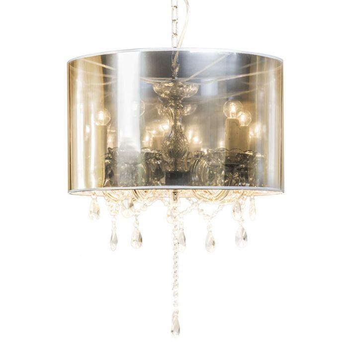 Lámpara-de-araña-MARIE-THERESA-5-con-pantalla-plata