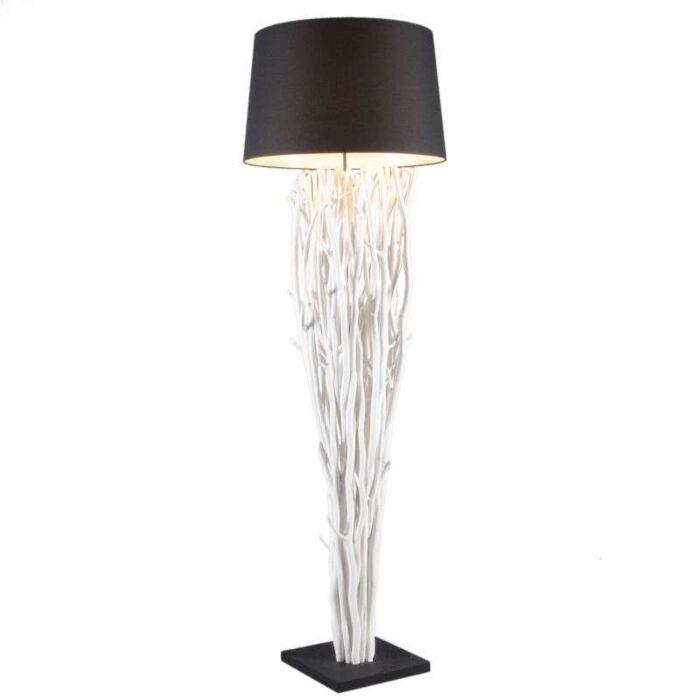 Lámpara-de-pie-PHATOM-blanca-con-pantalla-negra