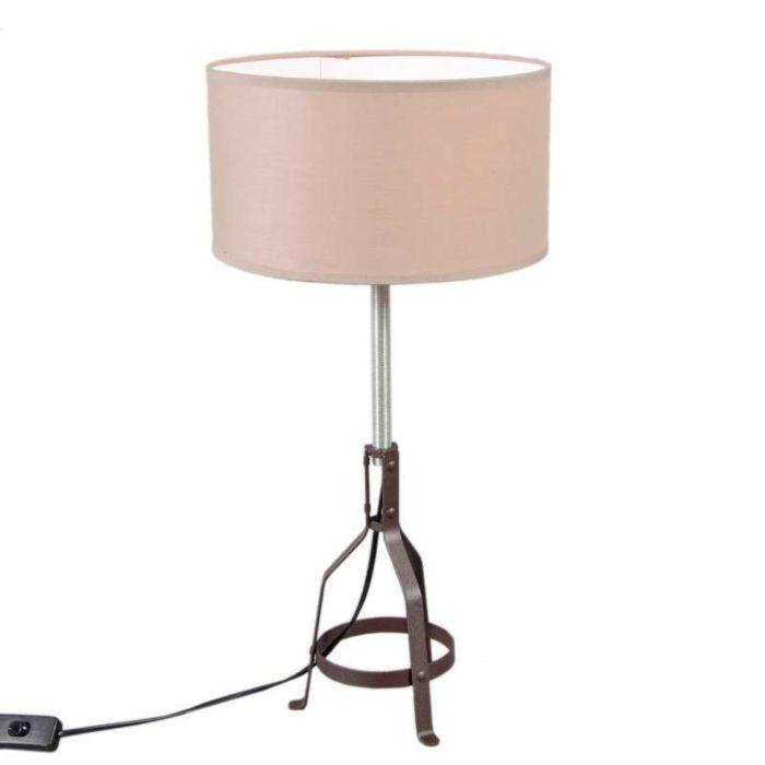 Lámpara-de-mesa-METALLO-café/-pantalla-beige