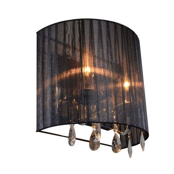 Lámpara-de-pared-clásica-cromada-con-pantalla-negra---Ann-Kathrin-2