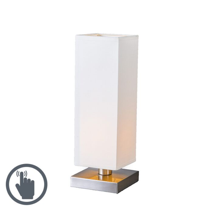 Lámpara-de-mesa-TOWER-táctil-blanca