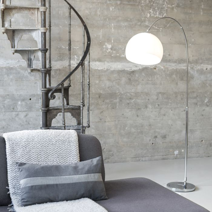 Lámpara-de-arco-moderna-cromo-pantalla-blanca---ARC-Basic