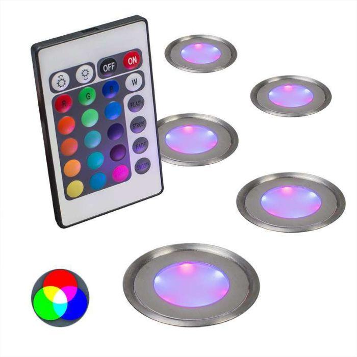 Juego-de-5-focos-empotrados-PUCK-IP67-RGB