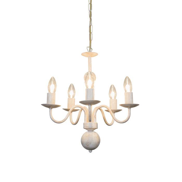 Lámpara-de-araña-ROMANO-5-blanco-envejecido