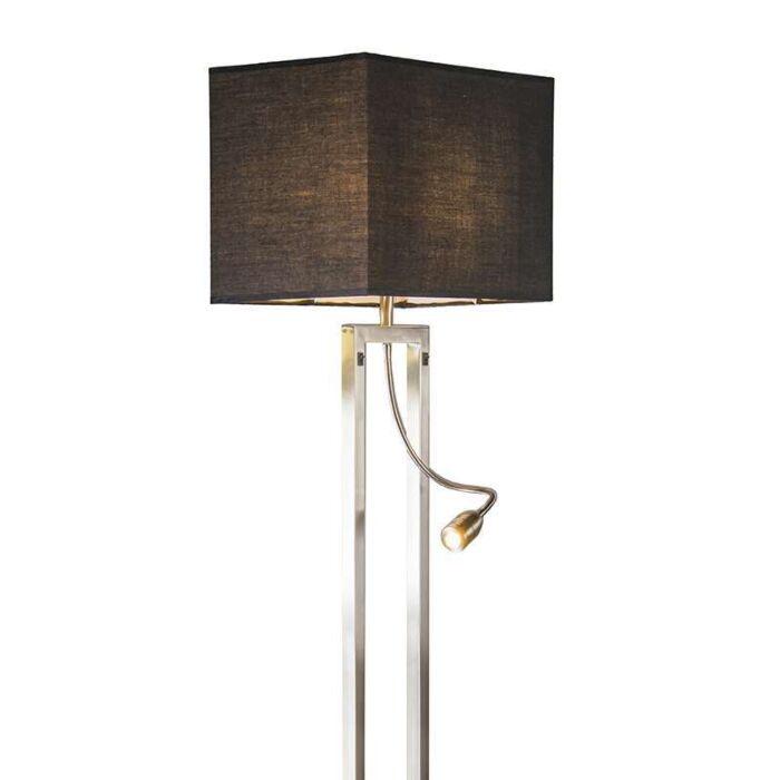 Lámpara-de-pie-BERGAMO-acero-pantalla-negra