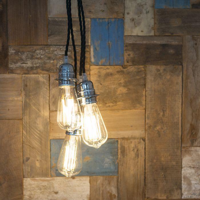 Lámpara-colgante-CAVO-Classic-cromo-con-negro