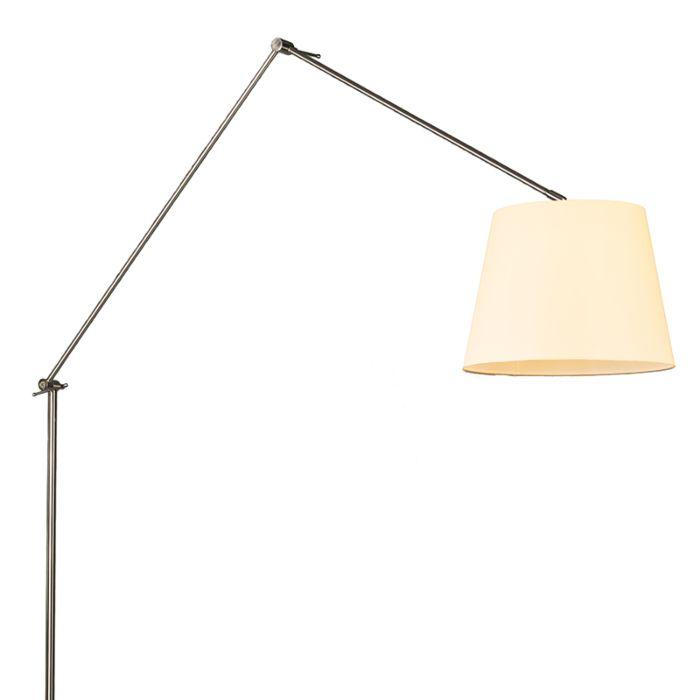 Lámpara-de-pie-EDITOR-acero-pantalla-35cm-crema