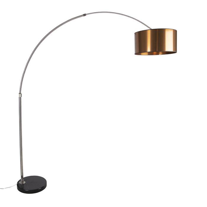 Lámpara-de-arco-moderna-de-acero-con-pantalla-de-cobre-50cm---XXL