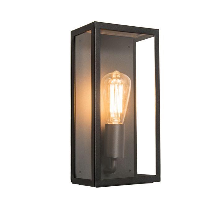 Aplique-rectangular-exterior-negro-cristal---ROTTERDAM