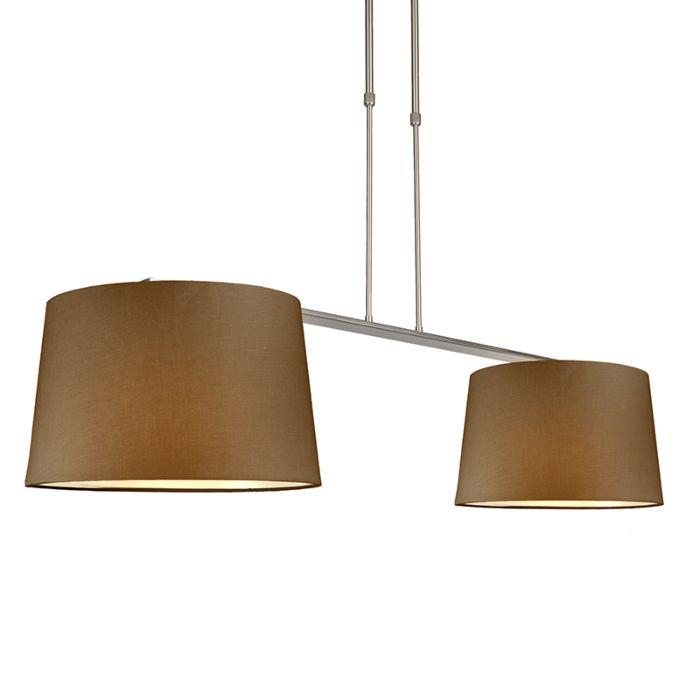 Lámpara-colgante-COMBI-Delux-2-pantallas-cónicas-40cm-marrón