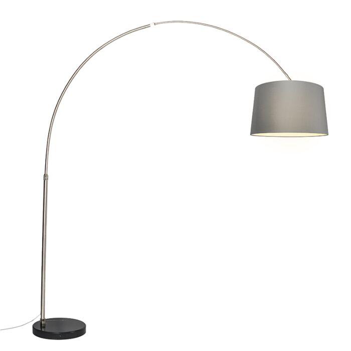 Lámpara-de-arco-XXL-acero-pantalla-50cm-cónica-gris