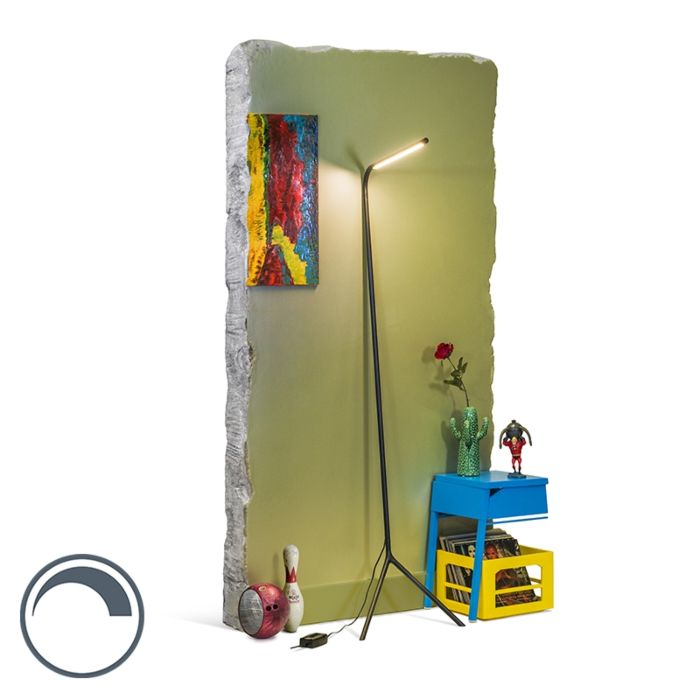 Lámpara-de-pie-diseño-negra-LED---LAZY-