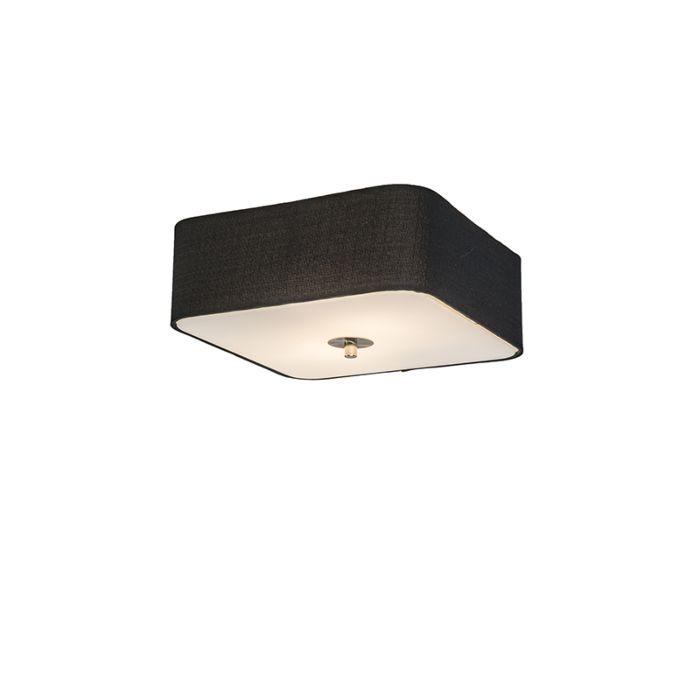 Lámpara-de-techo-cuadrado-negro-30-cm---Drum-deluxe-Jute