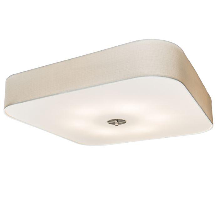 Lámpara-de-techo-cuadrado-blanco-70-cm---Drum-deluxe-Jute