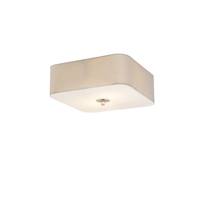 Lámpara-de-techo-cuadrado-blanco-30-cm---Drum-deluxe-Jute
