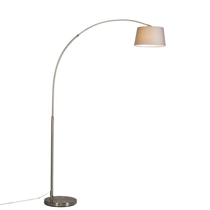 Lámpara-de-arco-moderna-de-acero-con-pantalla-de-tela-gris---Arc-Basic