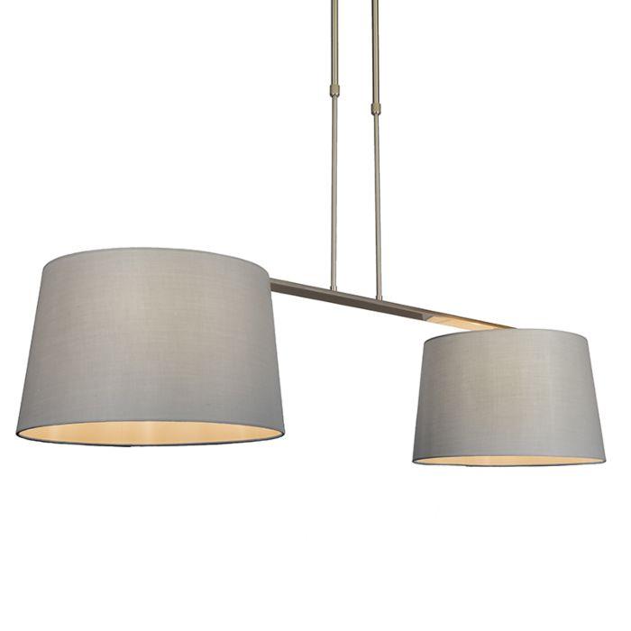Lámpara-colgante-COMBI-Delux-2-pantallas-cónicas-40cm-gris