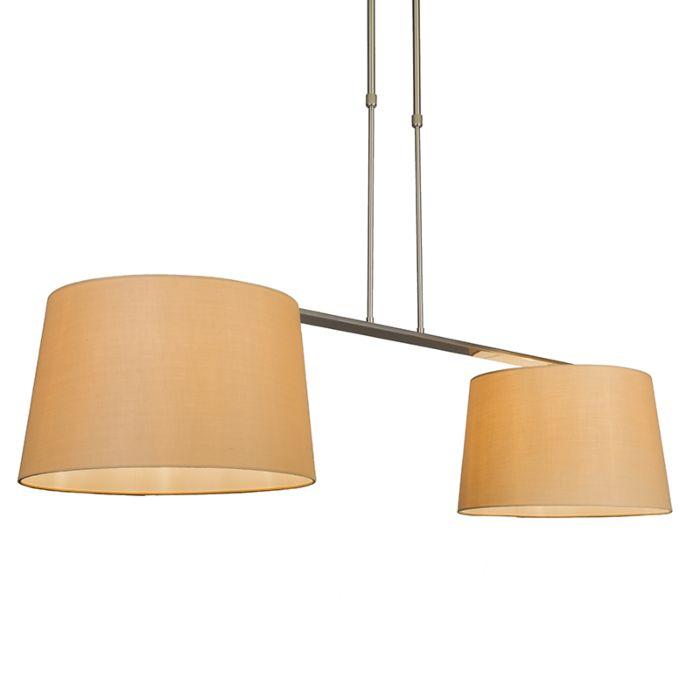 Lámpara-colgante-COMBI-Delux-2-pantallas-cónicas-40cm-beige