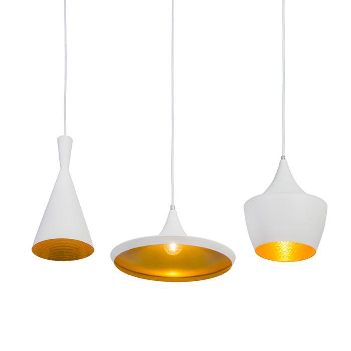 Lámpara-colgante-DEPECHE-3-blanca-con-oro