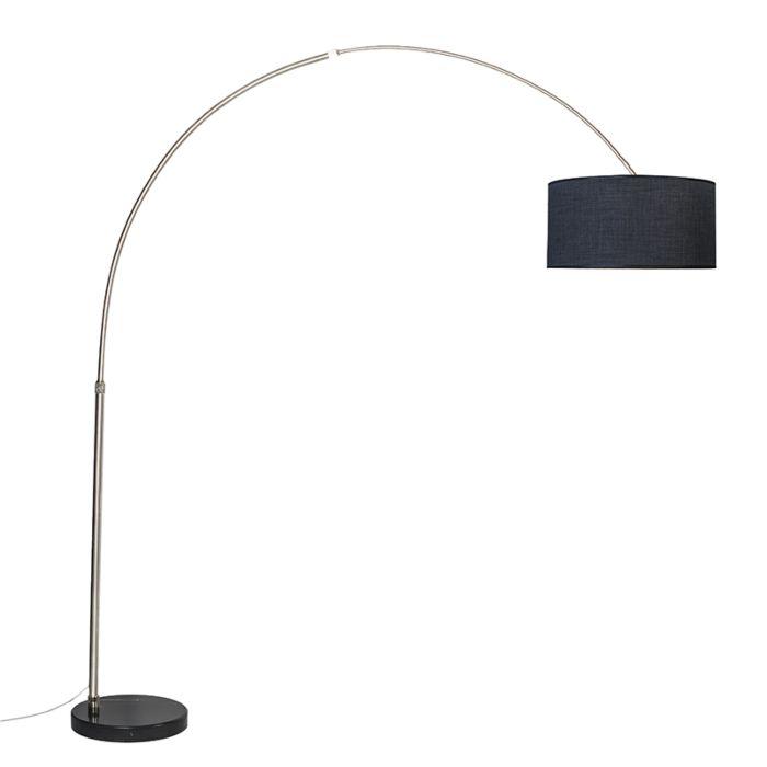 Lámpara-de-arco-XXL-acero-pantalla-50cm-recta-negro