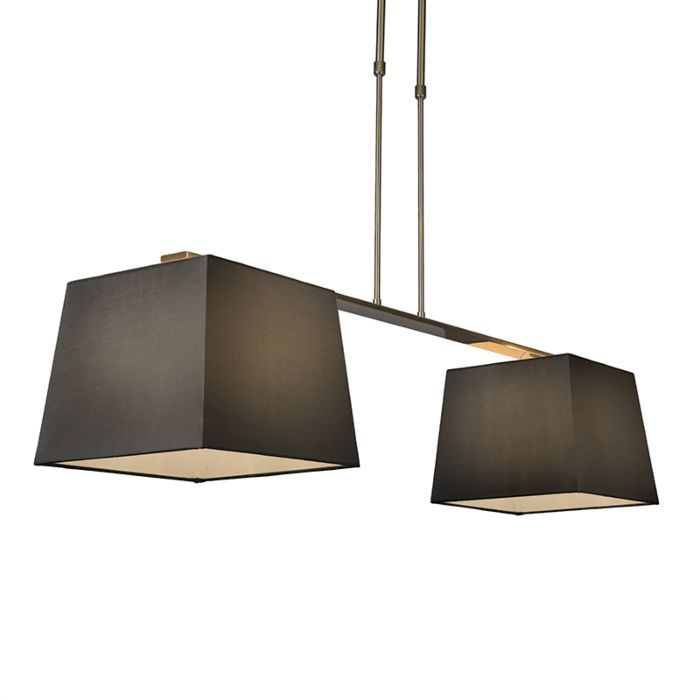 Lámpara-colgante-COMBI-Delux-2-pantallas-piramidales-30cm-negra
