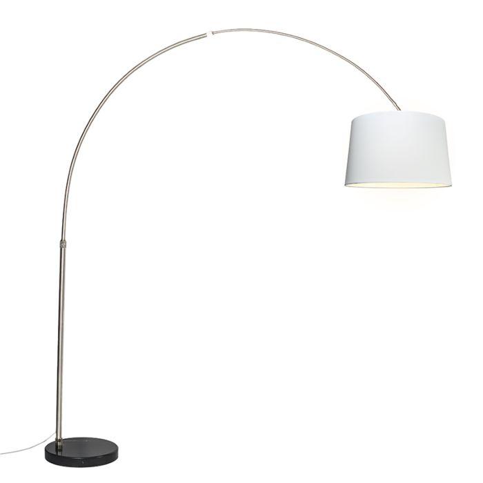 Lámpara-de-arco-acero-pantalla-blanca-45cm---XXL