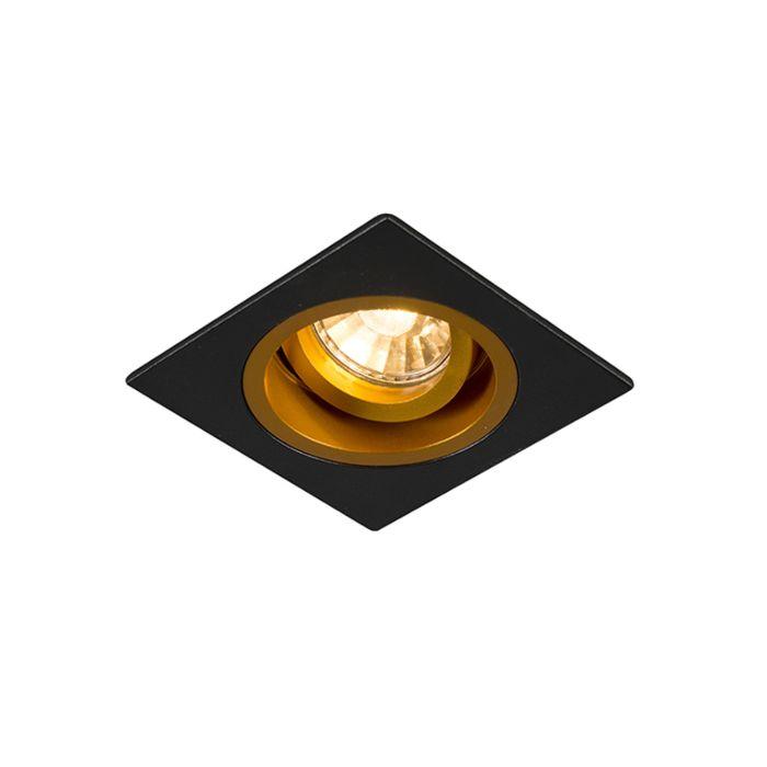 Foco-empotrado-cuadrado-negro/oro-orientable---CHUCK