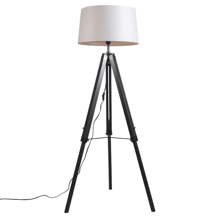 Lámpara-de-pie-TRIPOD-negra-con-pantalla-45cm-lino-gris