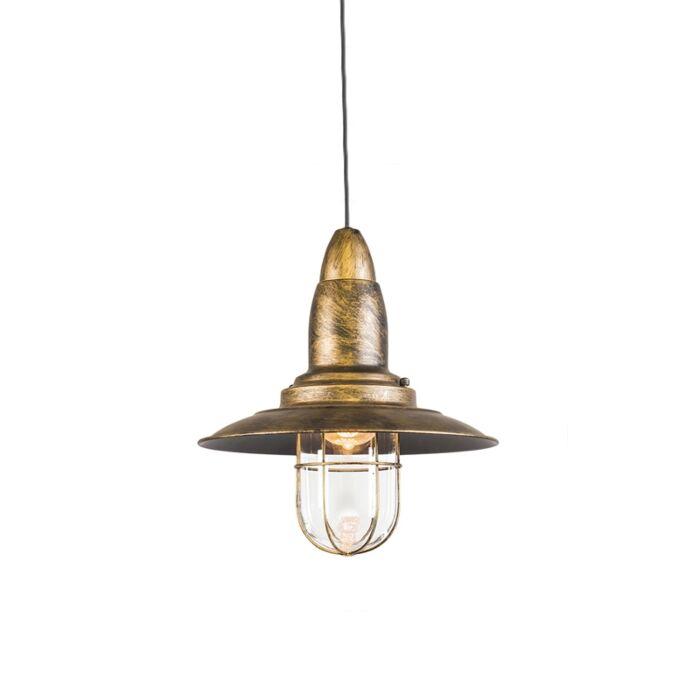 Lámpara-colgante-vintage-redonda-bronce-cristal---PESCADOR