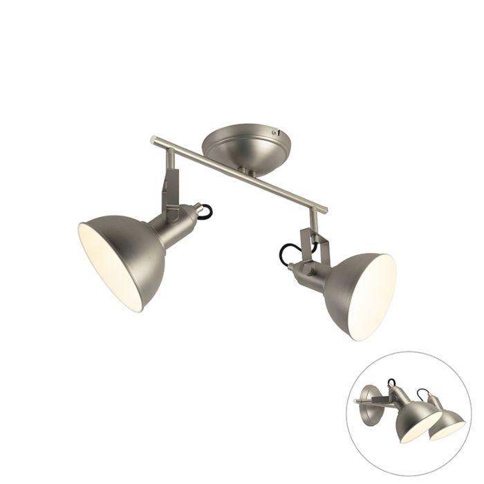 Plafón-acero-2-luces-orientable---TOMMY