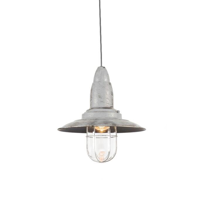 Lámpara-colgante-vintage-blanco-antiguo-con-vidrio---Pescador