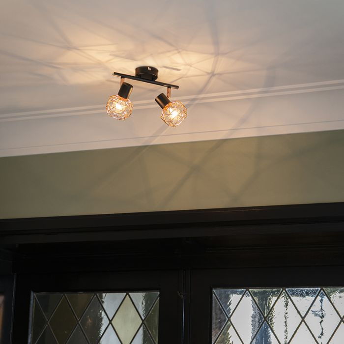 Plafón-moderno-negro-cobre-2-luces---MESH
