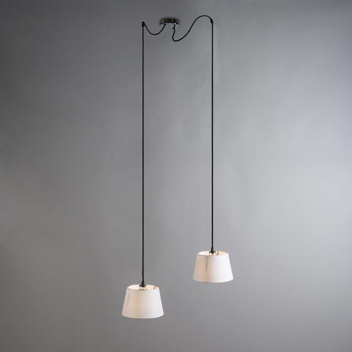 Lámpara-colgante-CAVA-2-cromo-con-pantallas-blancas