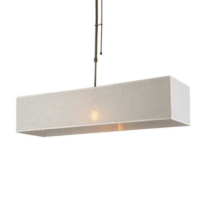 Lámpara-colgante-MIX-1-bronce-regulable-con-pantalla-alargada-crema