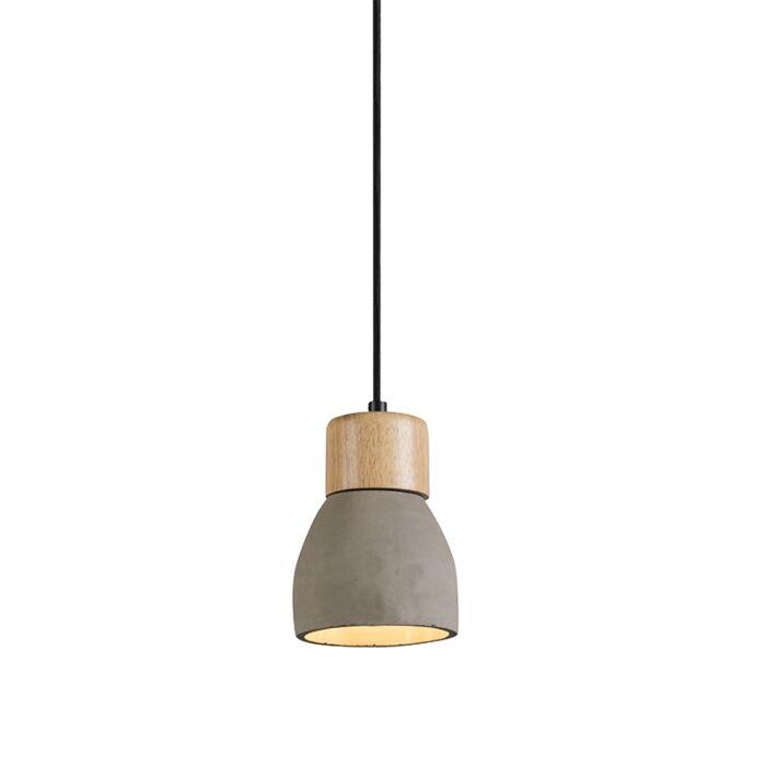 Lámpara-colgante-TORCIA-hormigón-y-madera