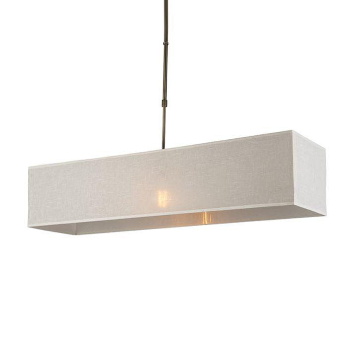 Lámpara-colgante-MIX-1-bronce-con-pantalla-alargada-crema