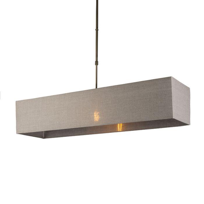 Lámpara-colgante-MIX-1-bronce-con-pantalla-alargada-marrón-claro
