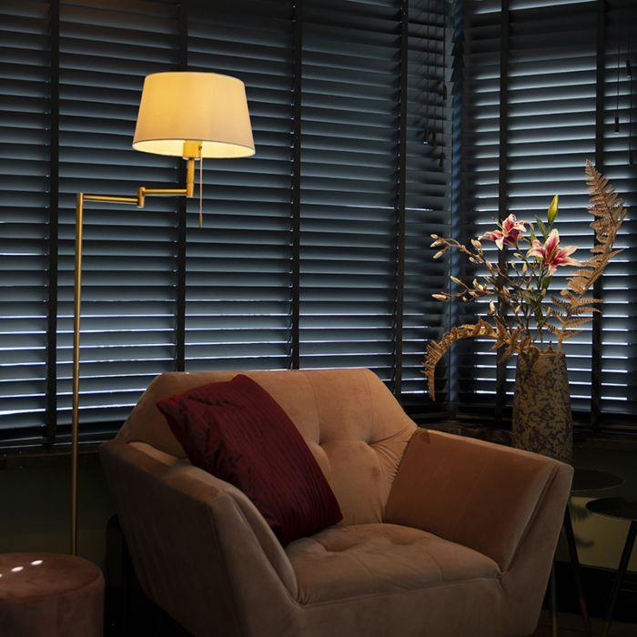 Lámpara-de-pie-clásica-bronce-con-pantalla-blanca-ajustable---Ladas