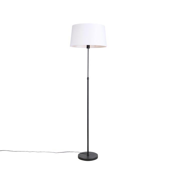 Lámpara-de-pie-negra-con-pantalla-de-lino-blanco-45-cm-ajustable---Parte