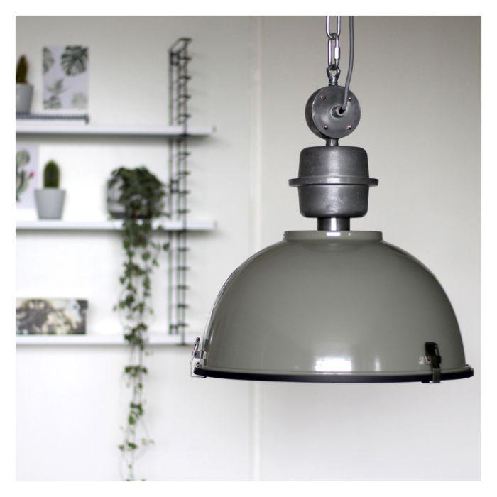 Lámpara-colgante-industrial-verde-gris-con-acero---Gospodin