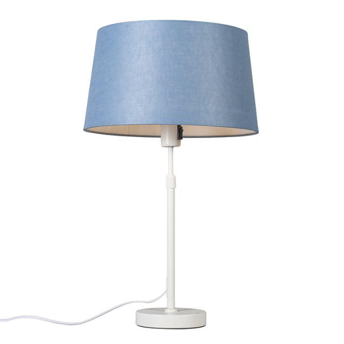 Lámpara-de-mesa-blanca-con-pantalla-azul-35-cm-ajustable---Parte