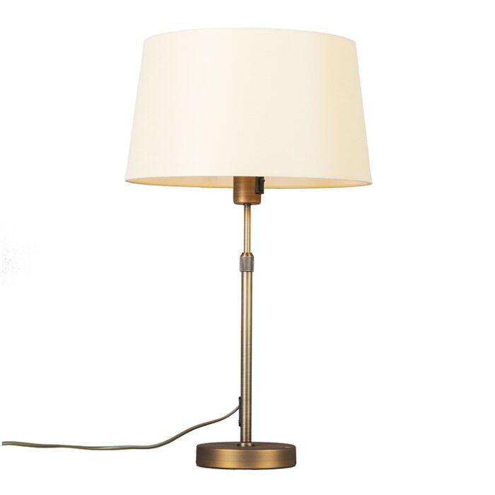 Lámpara-de-mesa-bronce-con-pantalla-amarilla-35-cm-ajustable---Parte