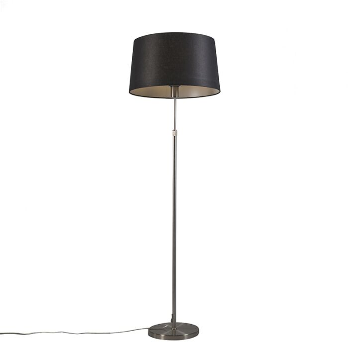 Lámpara-de-pie-acero-pantalla-negra-45cm-ajustable---PARTE